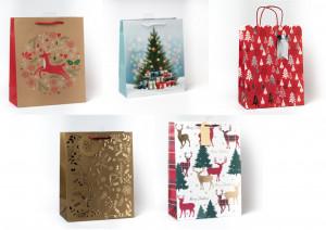 Kalėdinis dovanų maišelis didelis 5 vnt.